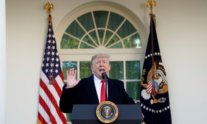 U.S. President Donald Trump announces a deal to end the partial government shutdown as he speaks in the Rose Garden of the White House in Washington, U.S., January 25, 2019. REUTERS/Kevin Lamarque