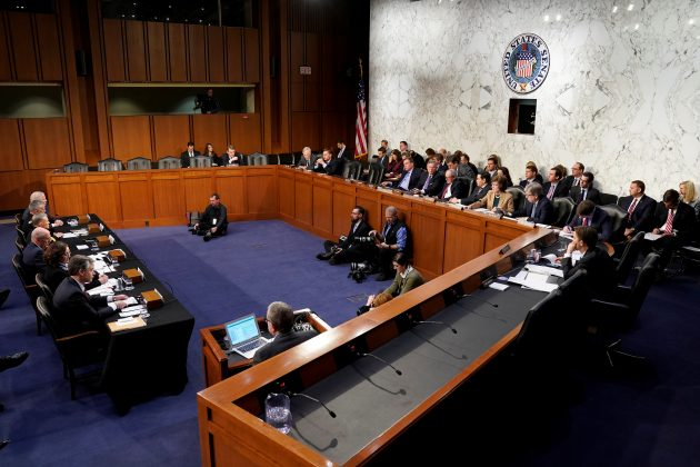 "FBI Director Christopher Wray, CIA Director Gina Haspel, Director of National Intelligence Dan Coats, Defense Intelligence Agency (DIA) Director Gen. Robert Ashley, National Security Agency (NSA) Director Gen. Paul Nakasone and Robert Cardillo, director of the National Geospatial-Intelligence Agency, testify to the Senate Intelligence Committee hearing about ""worldwide threats"" on Capitol Hill in Washington, U.S., January 29, 2019. REUTERS/Joshua Roberts"