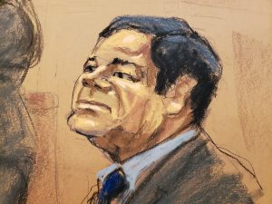 "Accused Mexican drug lord Joaquin ""El Chapo"" Guzman sits in court in this courtroom sketch during Guzman's trial in Brooklyn federal court in New York City, U.S., January 30, 2019. REUTERS/Jane Rosenberg"