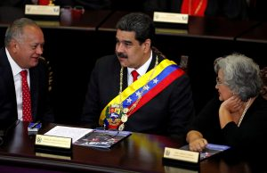 FILE PHOTO: Venezuela's President Nicolas Maduro sits between National Constituent Assembly (ANC) President Diosdado Cabello (L) and National Electoral Council (CNE) President Tibisay Lucena during a ceremony to mark the opening of the judicial year at the Supreme Court of Justice (TSJ), in Caracas, Venezuela, January 24, 2019. REUTERS/Carlos Garcia Rawlins/File Photo