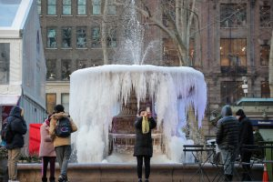 A woman takes a selfie in front of a mostly frozen Bryant Park fountain, as record low temperatures spread across the Midwest and Eastern states, in New York City, U.S., January 31, 2019. REUTERS/Brendan McDermid