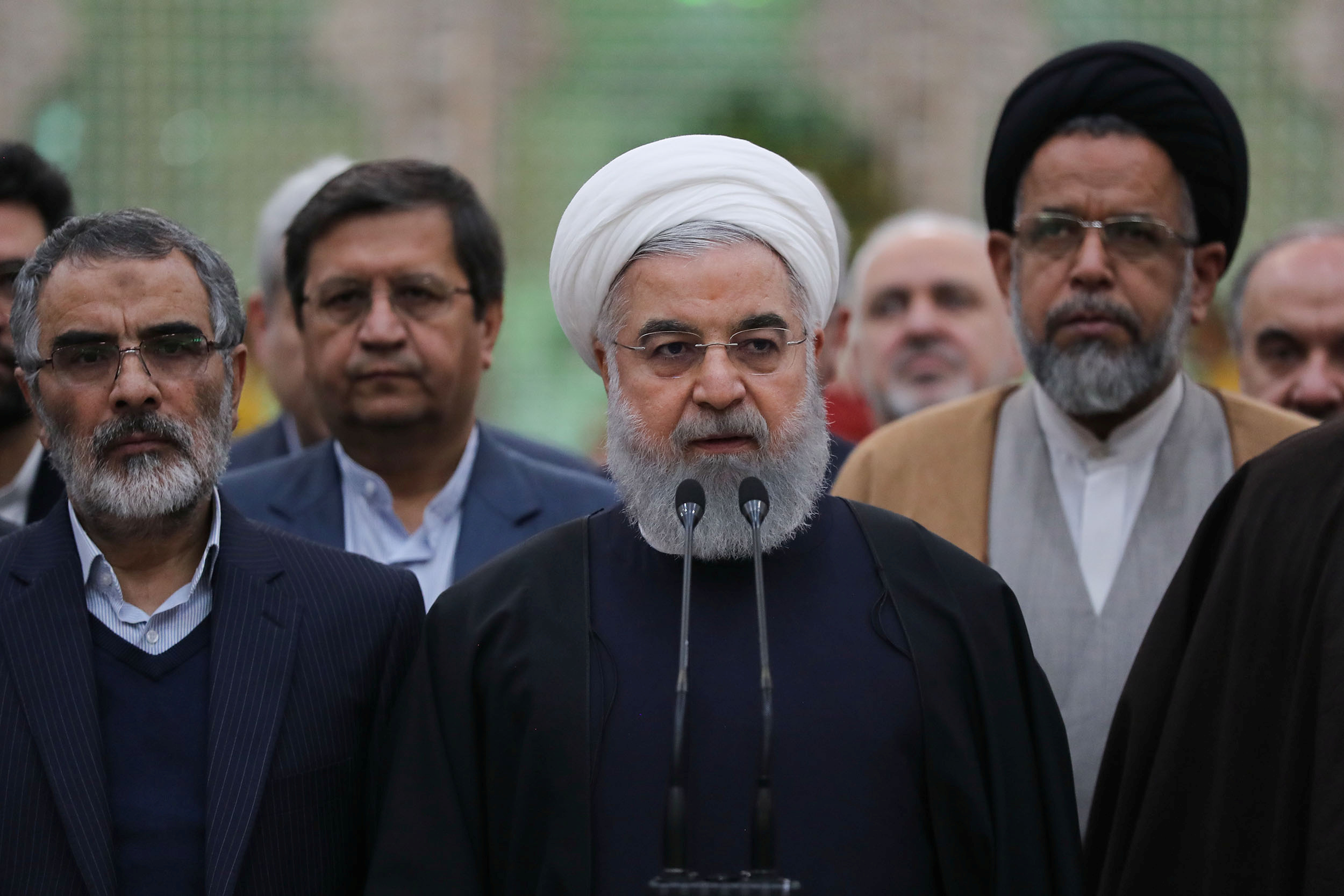 Iran's President Hassan Rouhani speaks during his visit to the shrine of the founder of the Islamic Republic, Ayatollah Ruhollah Khomeini, south of Tehran, Iran, January 30, 2019. Official President website/Handout via REUTERS