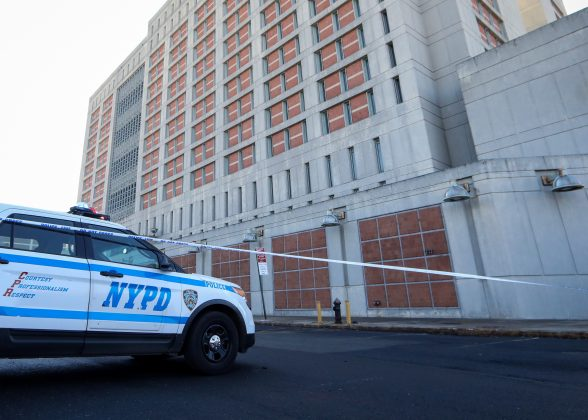 FILE PHOTO - A New York City Police (NYPD) car is parked outside the Brooklyn Metropolitan Detention Center, following a bomb threat in the Brooklyn borough of New York, U.S., February 4, 2019. REUTERS/Brendan McDermid