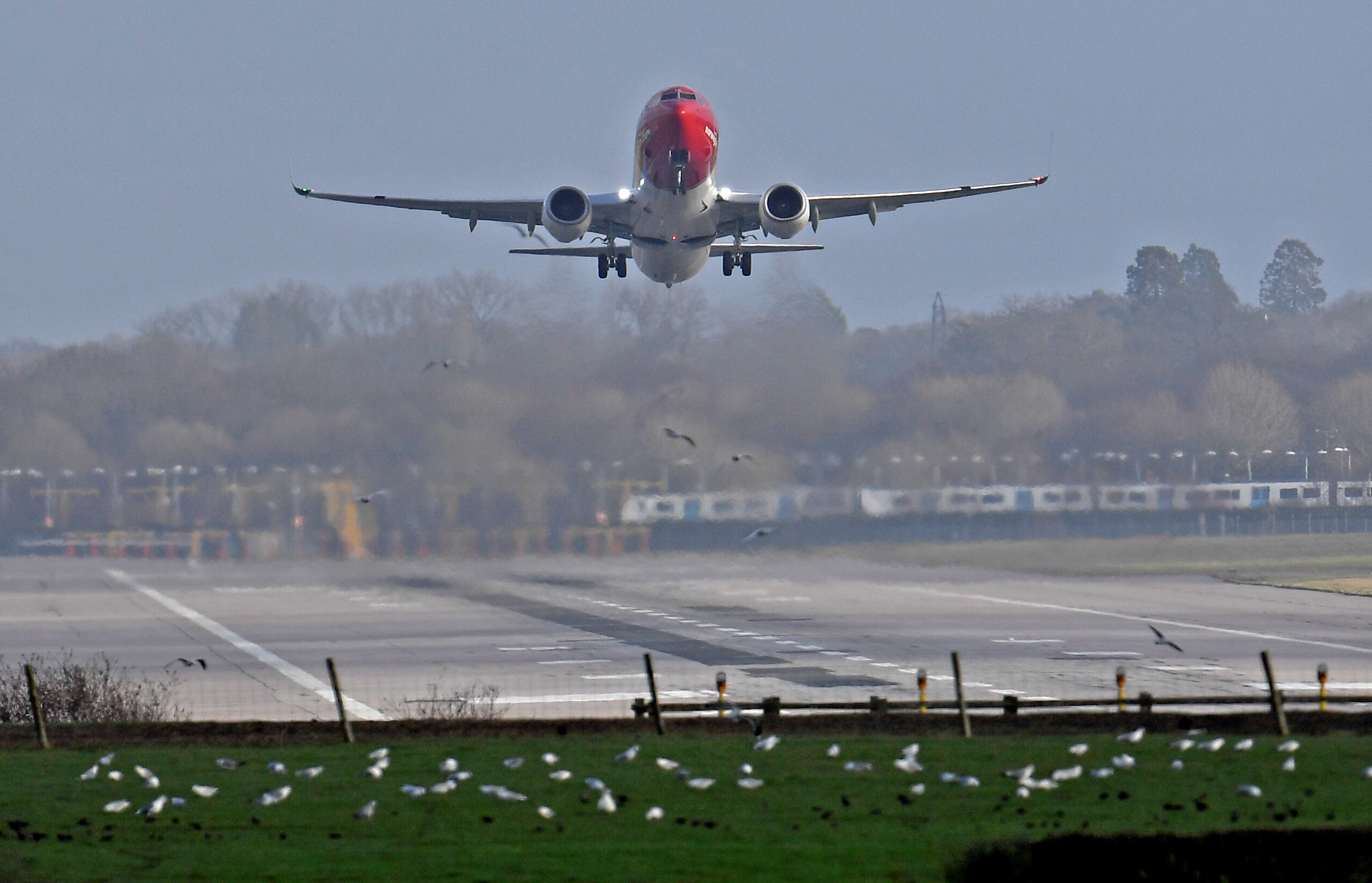 FILE PHOTO: An airplane takes off at Gatwick Airport, after the airport reopened to flights following its forced closure because of drone activity, in Gatwick, Britain, December 21, 2018. REUTERS/Toby Melville/File Photo
