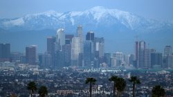 Snow capped mountains are seen behind the downtown Los Angeles skyline, California, U.S., February 12, 2019. REUTERS/Lucy Nicholson