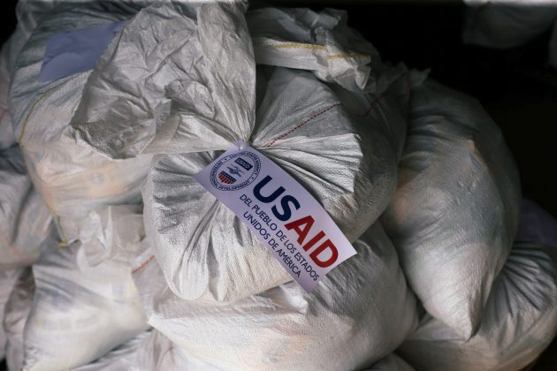 Sacks containing humanitarian aid are pictured at a warehouse near the Tienditas cross-border bridge between Colombia and Venezuela in Cucuta, Colombia February 14, 2019. REUTERS/Edgard Garrido