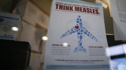 A measles poster is seen at Venice Family Clinic in Los Angeles, California February 5, 2015. REUTERS/Lucy Nicholson