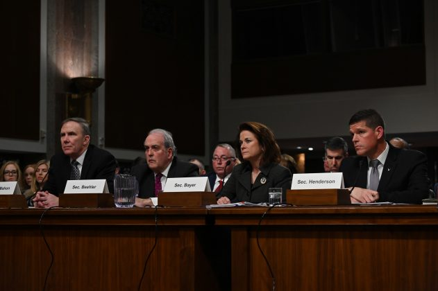 FILE PHOTO: Assistant Secretary of Defense For Sustainment Robert McMahon; Assistant Secretary of the Army for Installations, Energy, and Environment Alex Beehler; Assistant Secretary of the Navy for Energy, Installations, and Environment Phyllis Bayer; Assistant Secretary of Air Force for Installations, Environment, and Energy John Henderson testify before Senate Armed Services subcommittees on the Military Housing Privatization Initiative in Washington, U.S. February 13, 2019. REUTERS/Erin Scott