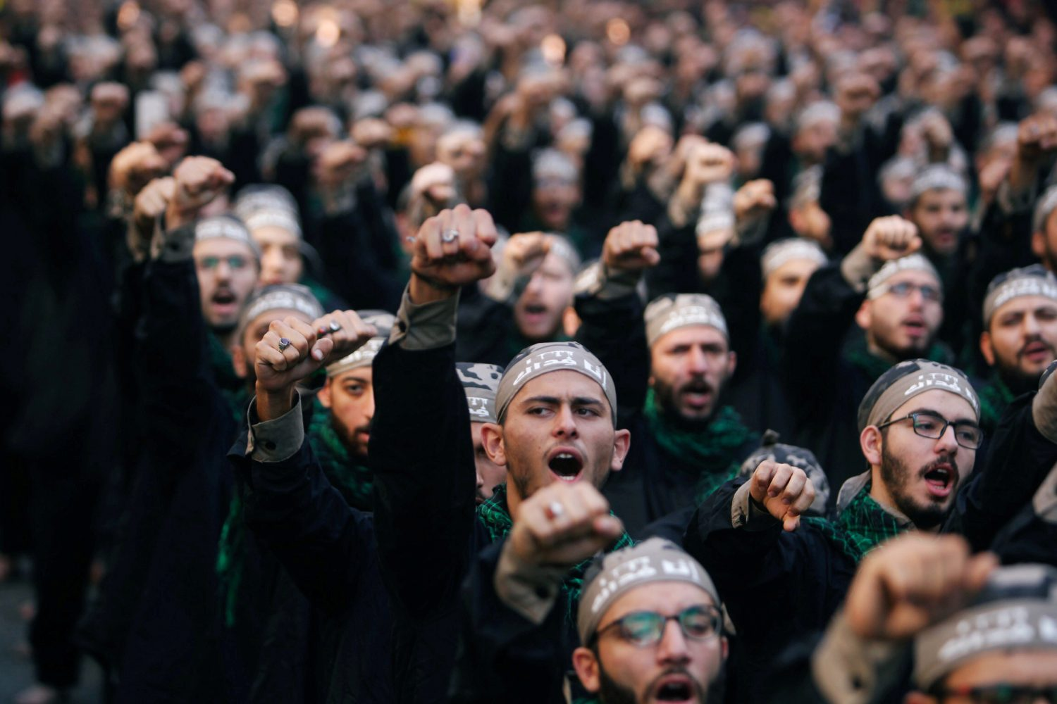 FILE PHOTO: Lebanon's Hezbollah supporters chant slogans during last day of Ashura, in Beirut, Lebanon September 20, 2018. REUTERS/Aziz Taher/File Photo