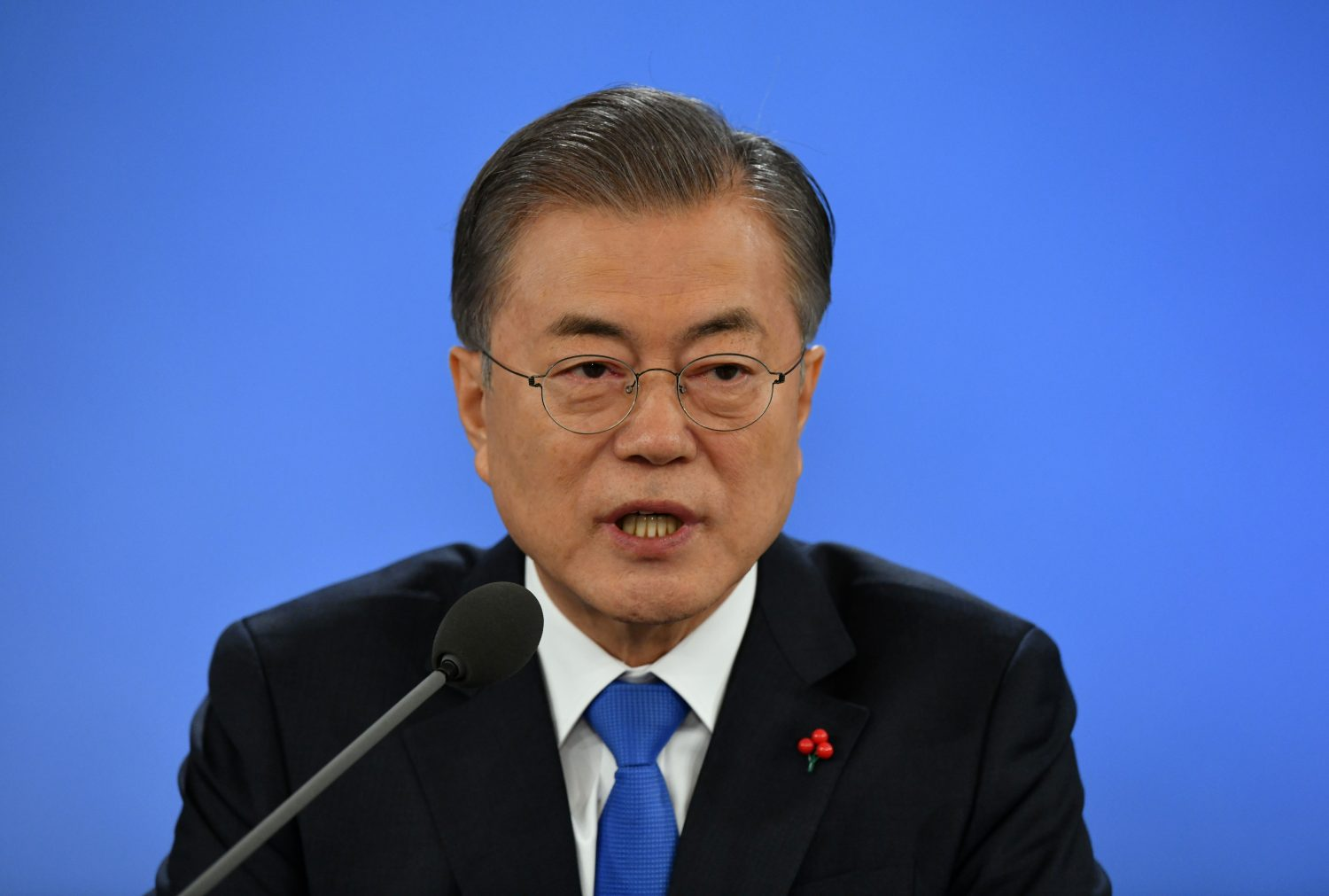 FILE PHOTO: South Korean President Moon Jae-in holds his New Year press conference at the presidential Blue House in Seoul on January 10, 2019. Jung Yeon-je/Pool via REUTERS