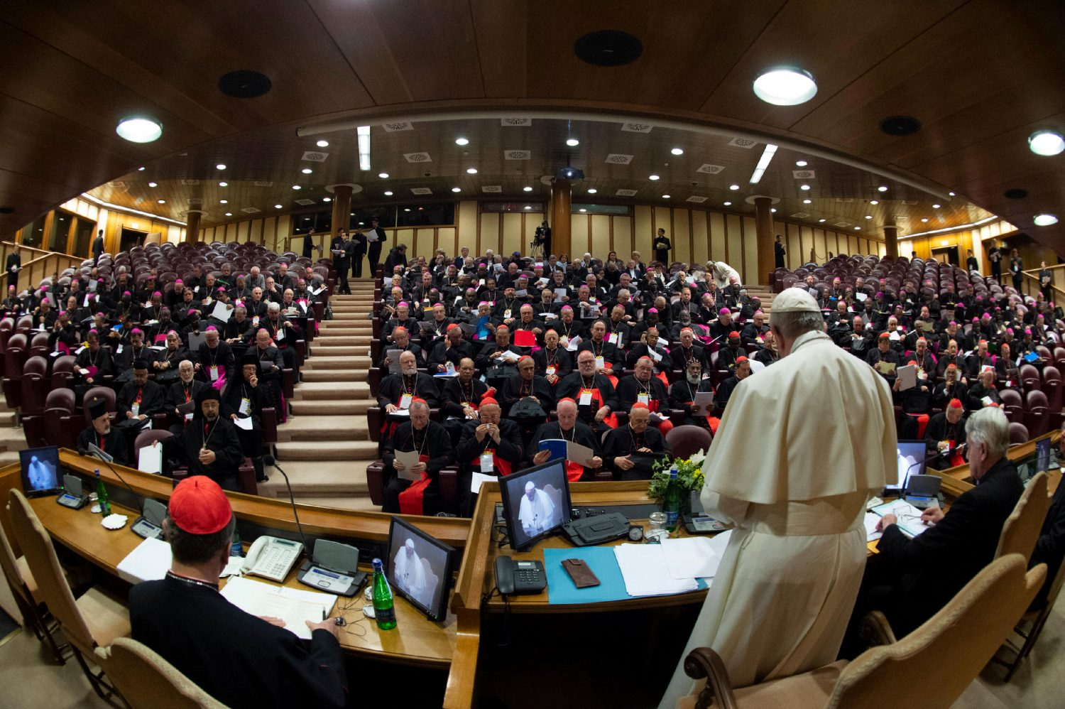 Pope Francis attends the four-day meeting on the global sexual abuse crisis, at the Vatican February 21, 2019. Picture taken with a fish-eye lens. Vatican Media/­Handout via REUTERS