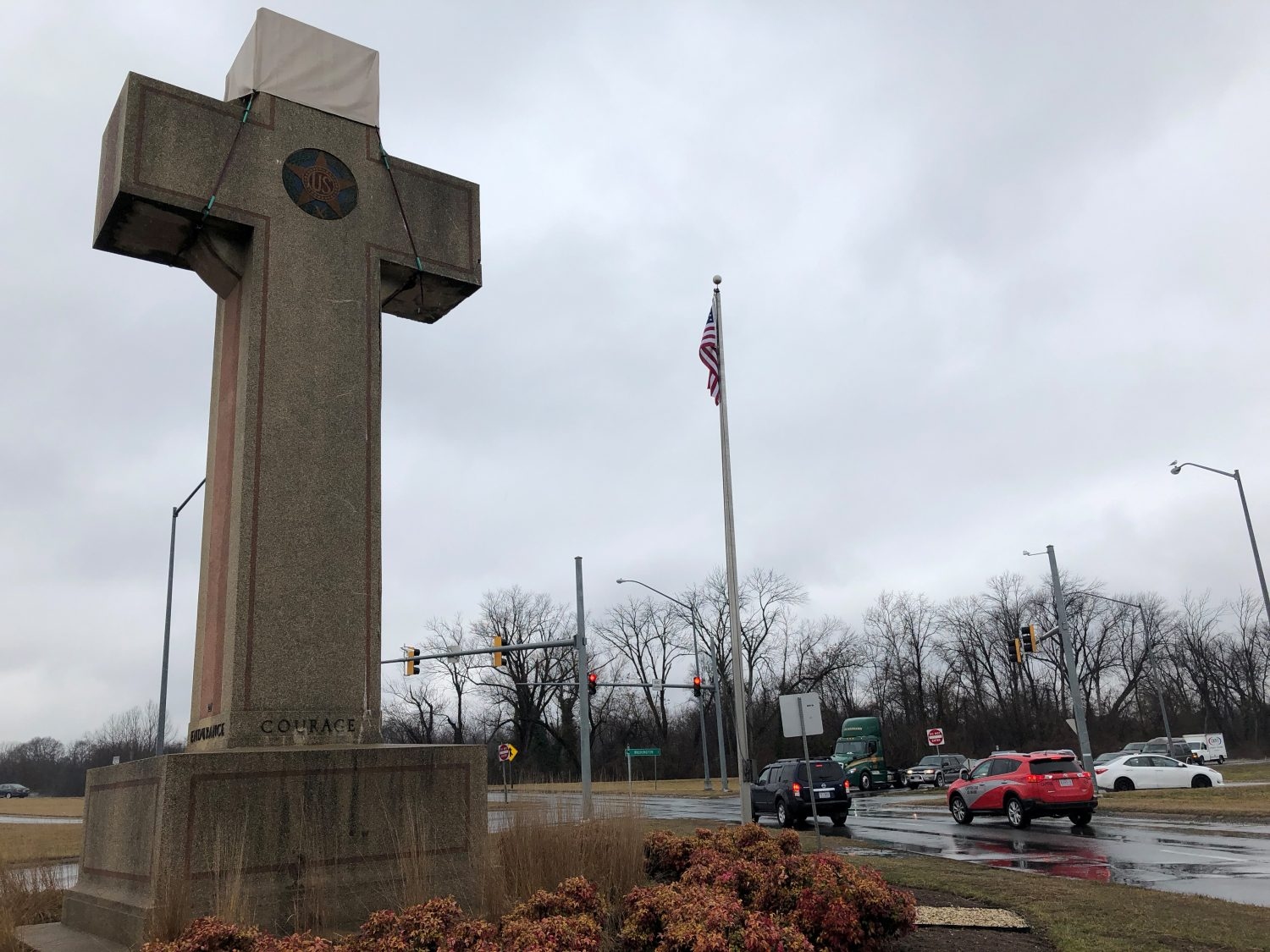 A concrete cross commemorating servicemen killed in World War One, that is the subject of a religious rights case now before the U.S. Supreme Court, is seen in Bladensburg, Maryland, U.S., February 11, 2019. Picture taken on February 11, 2019. REUTERS/Lawrence Hurley