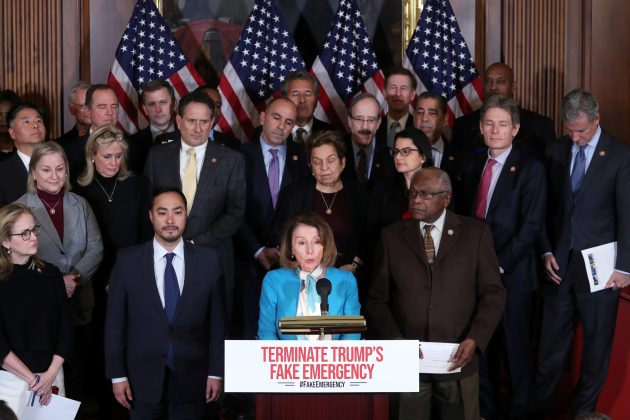 U.S. House Speaker Nancy Pelosi (D-CA), flanked by Representative Joaquin Castro (D-TX) (L) and House Democrats hold a news conference about their proposed resolution to terminate U.S. President Trump's Emergency Declaration on the southern border with Mexico, at the U.S. Capitol in Washington, U.S. February 25, 2019. REUTERS/Jonathan Ernst