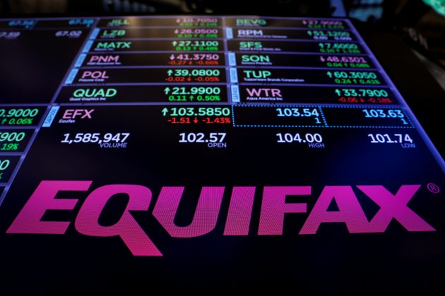 FILE PHOTO: The logo and trading information for Credit reporting company Equifax Inc. are displayed on a screen on the floor of the New York Stock Exchange (NYSE) in New York, U.S., September 26, 2017. REUTERS/Lucas Jackson