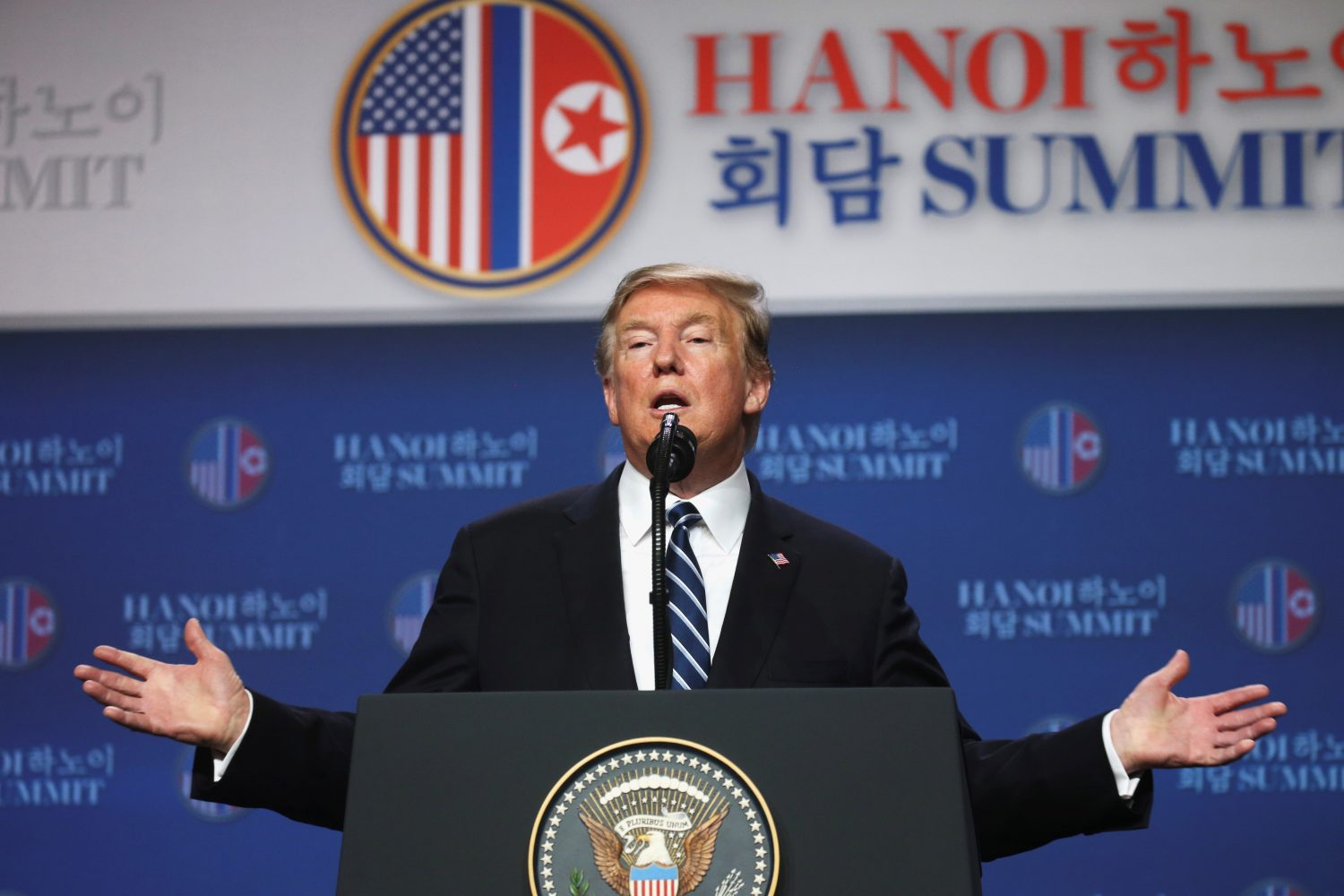 U.S. President Donald Trump holds a news conference after his summit with North Korean leader Kim Jong Un at the JW Marriott hotel in Hanoi, Vietnam, February 28, 2019. REUTERS/Leah Millis