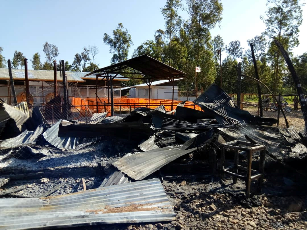 Burned structures are seen after attackers set fire to an Ebola treatment center run by Medecins Sans Frontieres (MSF) in the east Congolese town of Katwa, Democratic Republic of Congo February 25, 2019. Picture taken February 25, 2019. Laurie Bonnaud/MSF/Handout via REUTERS