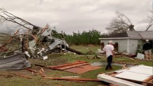 Debris of housing seen following a tornado in Beauregard, Alabama, U.S. in this March 3, 2019 still image obtained from social media video. SCOTT FILLMER /via REUTERS