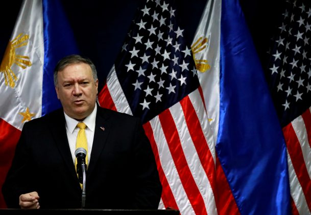 FILE PHOTO: U.S. Secretary of State Mike Pompeo speaks to the media at the Department of Foreign Affairs in Pasay City, Metro Manila, Philippines, March 1, 2019. REUTERS/Eloisa Lopez