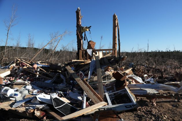 The remains of a home sit destroyed after two deadly back-to-back tornadoes, in Beauregard, Alabama, U.S., March 6, 2019. REUTERS/Shannon Stapleton
