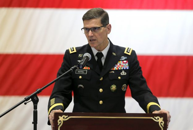 FILE PHOTO: General Joseph L. Votel, Commander of United States Central Command (CENTCOM) speaks during the Change of Command U.S. Naval Forces Central Command 5th Fleet Combined Maritime Forces ceremony at the U.S. Naval Base in Bahrain, May 6, 2018. REUTERS/Hamad I Mohammed