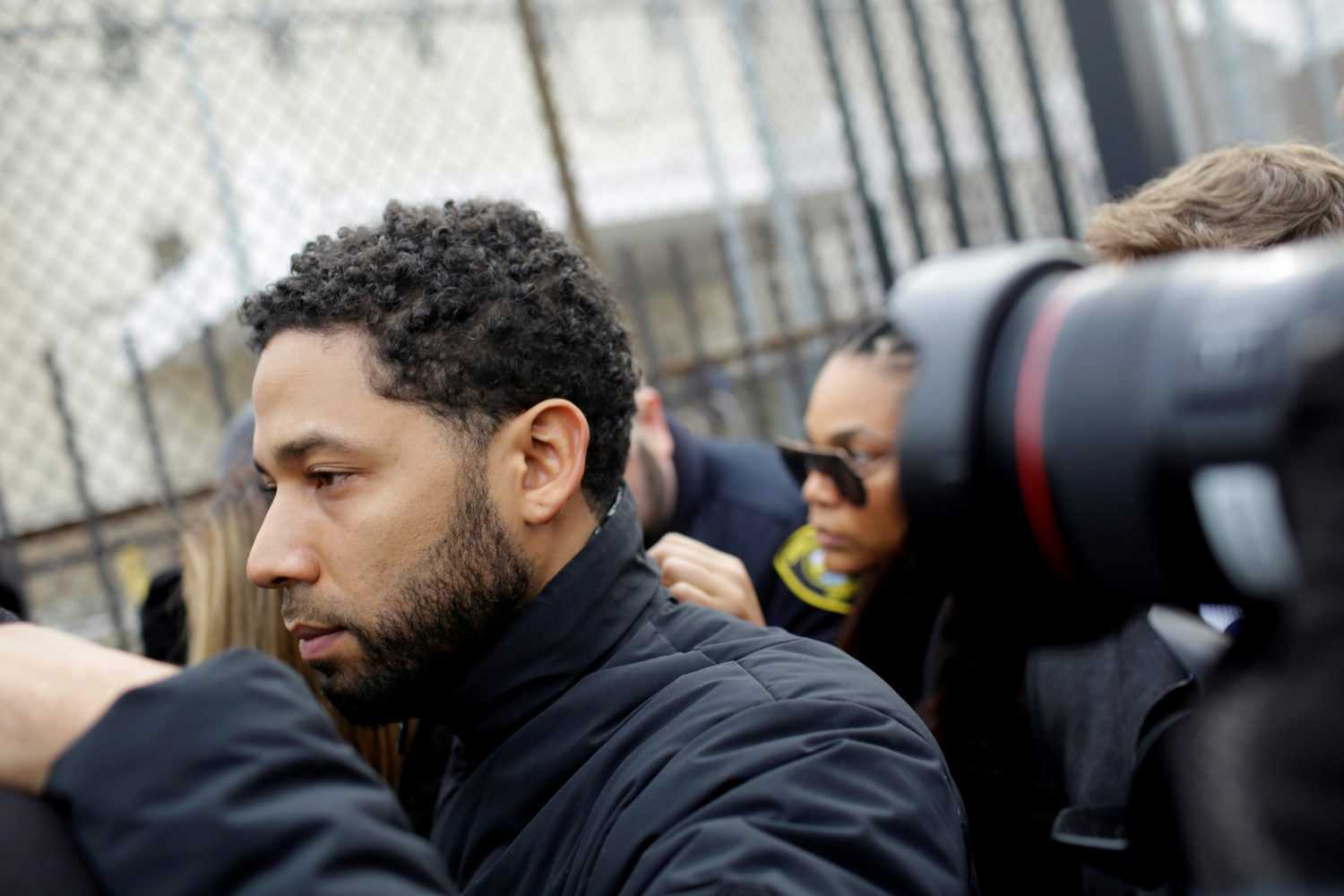 FILE PHOTO: Jussie Smollett exits Cook County Department of Corrections after posting bail in Chicago, Illinois, U.S., February 21, 2019. REUTERS/Joshua Lott