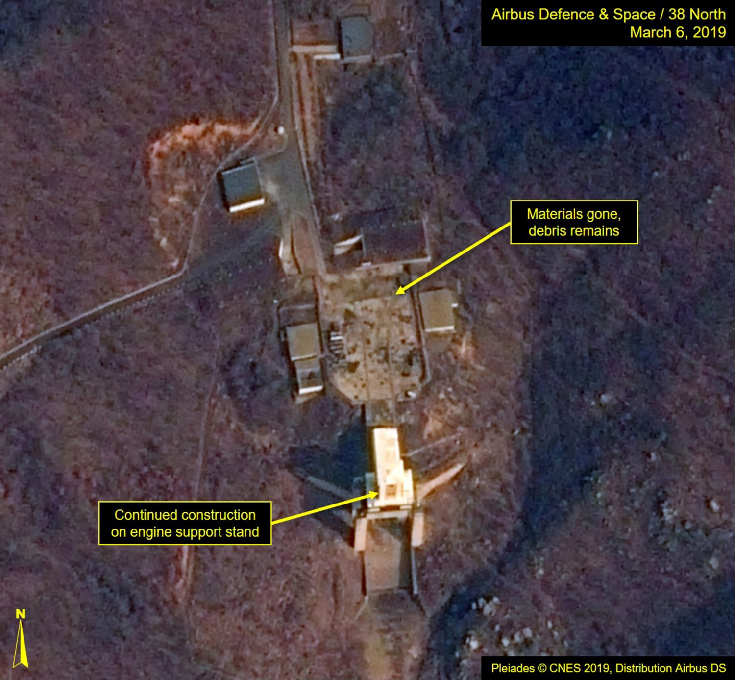 """A satellite image of North Korea's Sohae Satellite Launching Station (Tongchang-ri) which Washington-based Stimson Center's 38 North says, """"Rebuilding continues at the engine test stand"""" is seen in this image released from Washington, DC, U.S., March 7, 2019. Courtesy Airbus Defence & Space and 38 North, Pleiades © CNES 2019, Distribution Airbus DS/Handout via REUTERS"""
