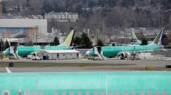 FILE PHOTO: Boeing 737 MAX aircraft are parked at a Boeing production facility in Renton, Washington, U.S., March 11, 2019. REUTERS/David Ryder