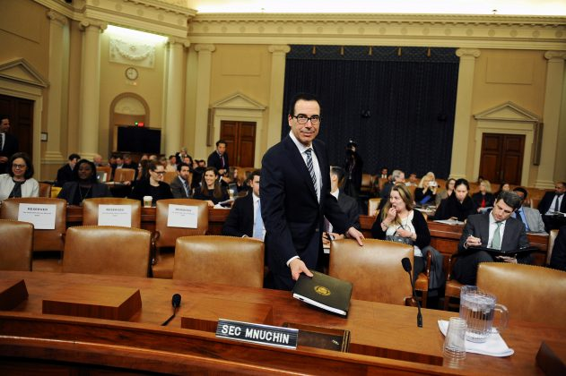 FILE PHOTO: U.S. Treasury Secretary Steven Mnuchin testifies at U.S. House Ways and Means Committee hearing on President Donald Trump's proposed budget in Washington, U.S., March 14, 2019. REUTERS/Mary F. Calvert