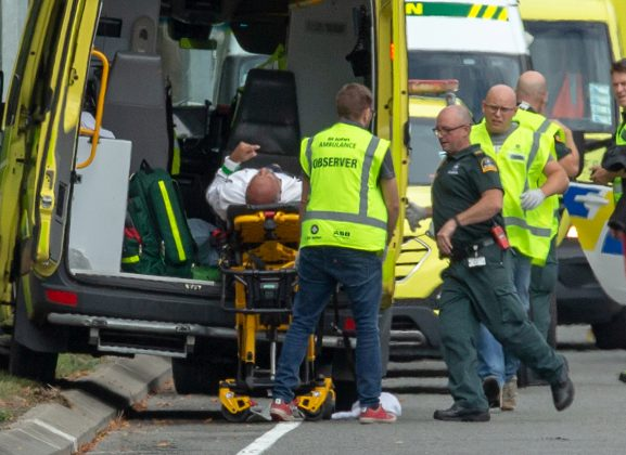 An injured person is loaded into an ambulance following a shooting at the Al Noor mosque in Christchurch, New Zealand, March 15, 2019. REUTERS/SNPA/Martin Hunter