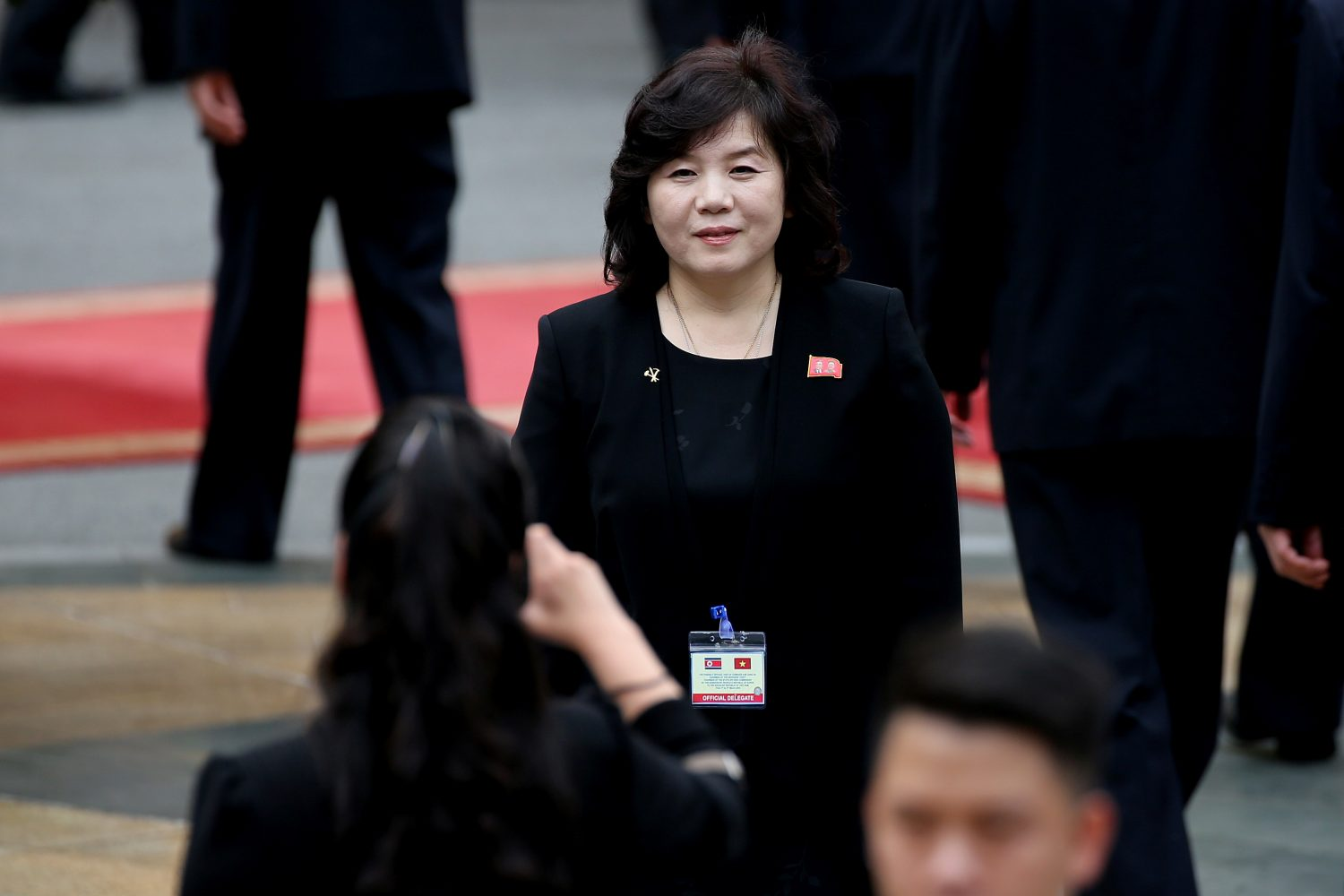 FILE PHOTO: Hyon Song Wol, head of the North Korean Samjiyon art troupe takes a photo of Vice Minister of Foreign Affairs Choe Son-Hui (C) ahead of the welcoming ceremony of North Korea's leader Kim Jong Un (not pictured) at the Presidential Palace in Hanoi, Vietnam March 1, 2019. Luong Thai Linh/Pool via REUTERS