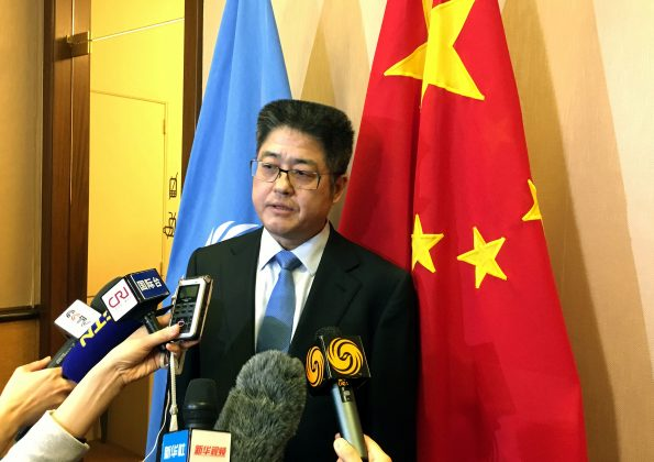 China Vice Minister of Foreign Affairs Le Yucheng talks to the media after the Universal Periodic Review of China by the Human Rights Council at the United Nations in Geneva, Switzerland, March 15, 2019. REUTERS/Stephanie Nebehay