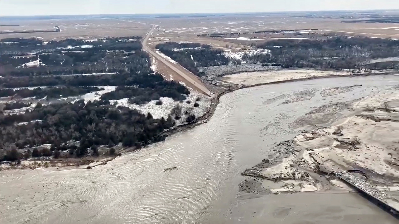Highway 281 is seen damaged after a storm triggered historic flooding, in Niobrara, Nebraska, U.S. March 16, 2019. Office of Governor Pete Ricketts/Handout via REUTERS