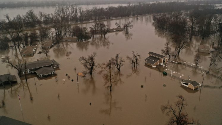 FILE PHOTO: A flooded parcel of land along the Platte River is pictured in this aerial photograph at La Platte, south of Omaha, Nebraska, U.S. March 19, 2019. REUTERS/Drone Base