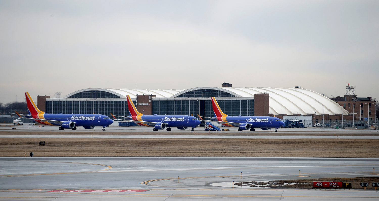 FILE PHOTO: Southwest Airlines Co. Boeing 737 MAX 8 aircraft sit next to the maintenance area after landing at Midway International Airport in Chicago, Illinois, U.S., March 13, 2019. REUTERS/Kamil Kraczynski
