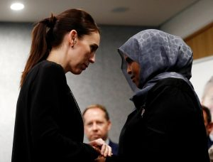 New Zealand's Prime Minister Jacinda Ardern meets with one of the first responders who was at the scene of the Christchurch mosque shooting, in Christchurch, New Zealand March 20, 2019. REUTERS/Edgar Su