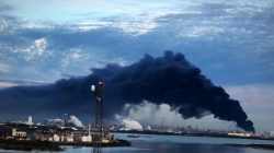 Smoke rises from a fire burning at the Intercontinental Terminals Company in Deer Park, east of Houston, Texas, U.S., March 18, 2019. Jaimie Meldrum/@jamiejow/Handout via REUTERS