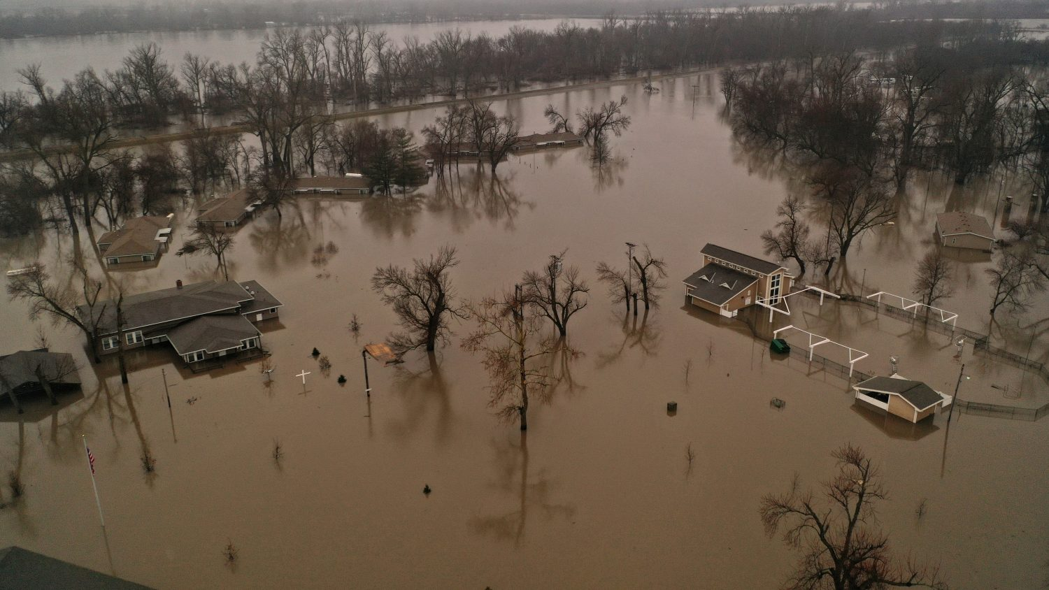 A flooded parcel of land along the Platte River is pictured in this aerial photograph at La Platte, south of Omaha, Nebraska, U.S. March 19, 2019. REUTERS/Drone Base