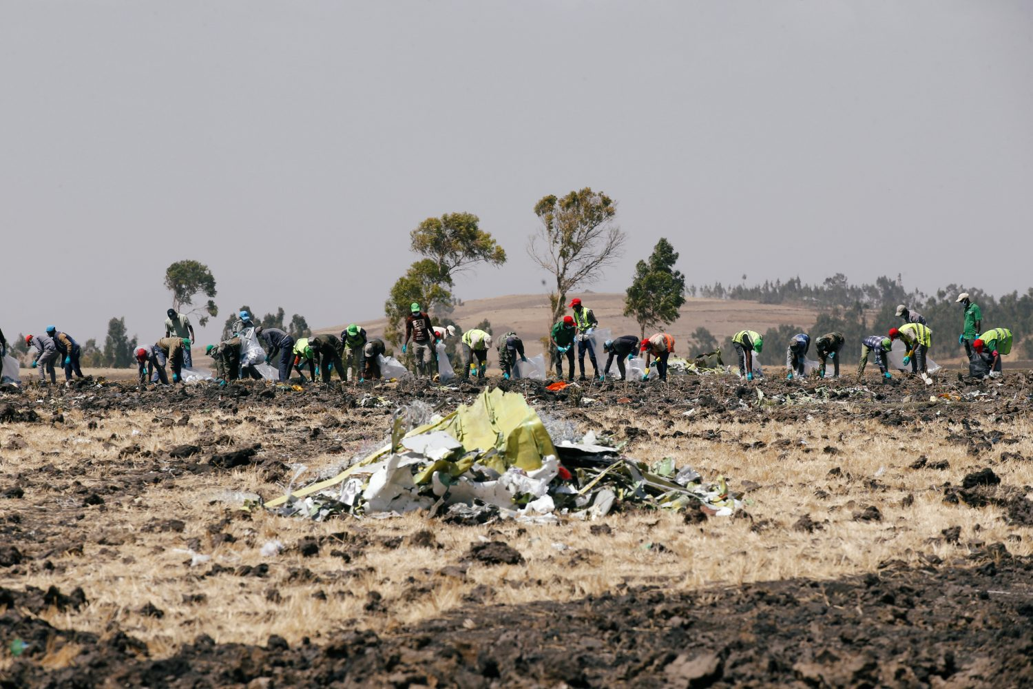 FILE PHOTO: Ethiopians search for remains at the Ethiopian Airlines Flight ET 302 plane crash before a commemoration ceremony at the scene of the crash, near the town of Bishoftu, southeast of Addis Ababa, Ethiopia March 13, 2019. REUTERS/Baz Ratner