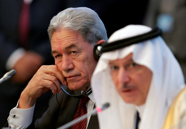 Secretary General of OIC Yousef bin Ahmad Al-Othaimeen speaks as New Zealand's Foreign Minister Winston Peters listens during an emergency meeting of the Organisation of Islamic Cooperation (OIC) in Istanbul, Turkey, March 22, 2019. REUTERS/Murad Sezer