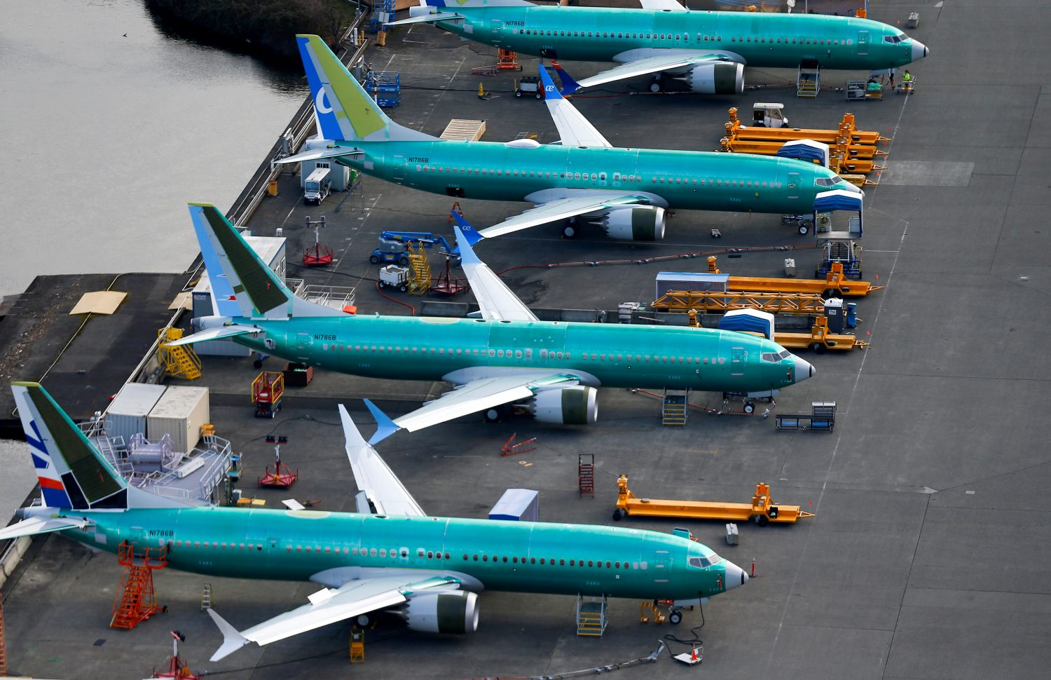 FILE PHOTO: An aerial photo shows Boeing 737 MAX airplanes parked at the Boeing Factory in Renton, Washington, U.S. March 21, 2019. REUTERS/Lindsey Wasson