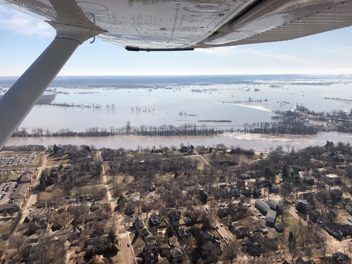 FILE PHOTO - The Kansas side of the Missouri River is seen in Atchison, Kansas, U.S., March 22, 2019 in this picture obtained from social media. SHAWN RIZZA/via REUTERS