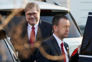 U.S. Attorney General William Barr leaves his house after Special Counsel Robert Mueller found no evidence of collusion between U.S. President Donald Trump's campaign and Russia in the 2016 election in McClean, Virginia, U.S., March 25, 2019. REUTERS/Joshua Roberts