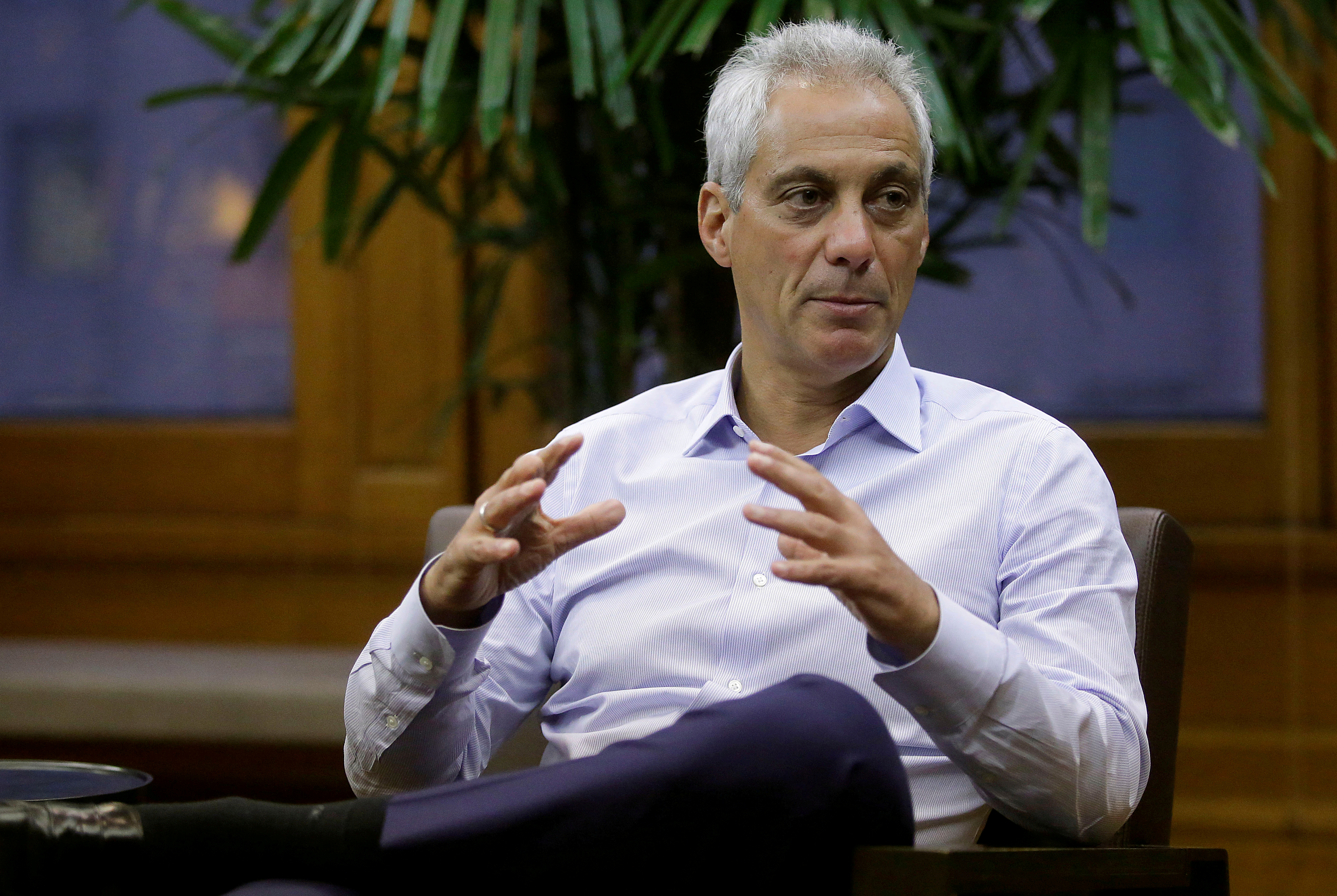FILE PHOTO: Chicago Mayor Rahm Emanuel speaks during an interview at City Hall in Chicago, Illinois, U.S. June 14, 2017. REUTERS/Joshua Lott/File Photo