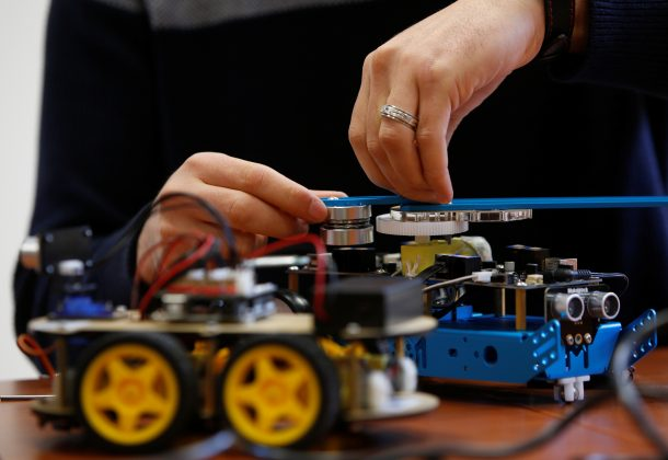 FILE PHOTO: A research support officer and PhD student works on his artificial intelligence projects to train robots to autonomously carry out various tasks, at the Department of Artificial Intelligence in the Faculty of Information Communication Technology at the University of Malta in Msida, Malta February 8, 2019. REUTERS/Darrin Zammit Lupi