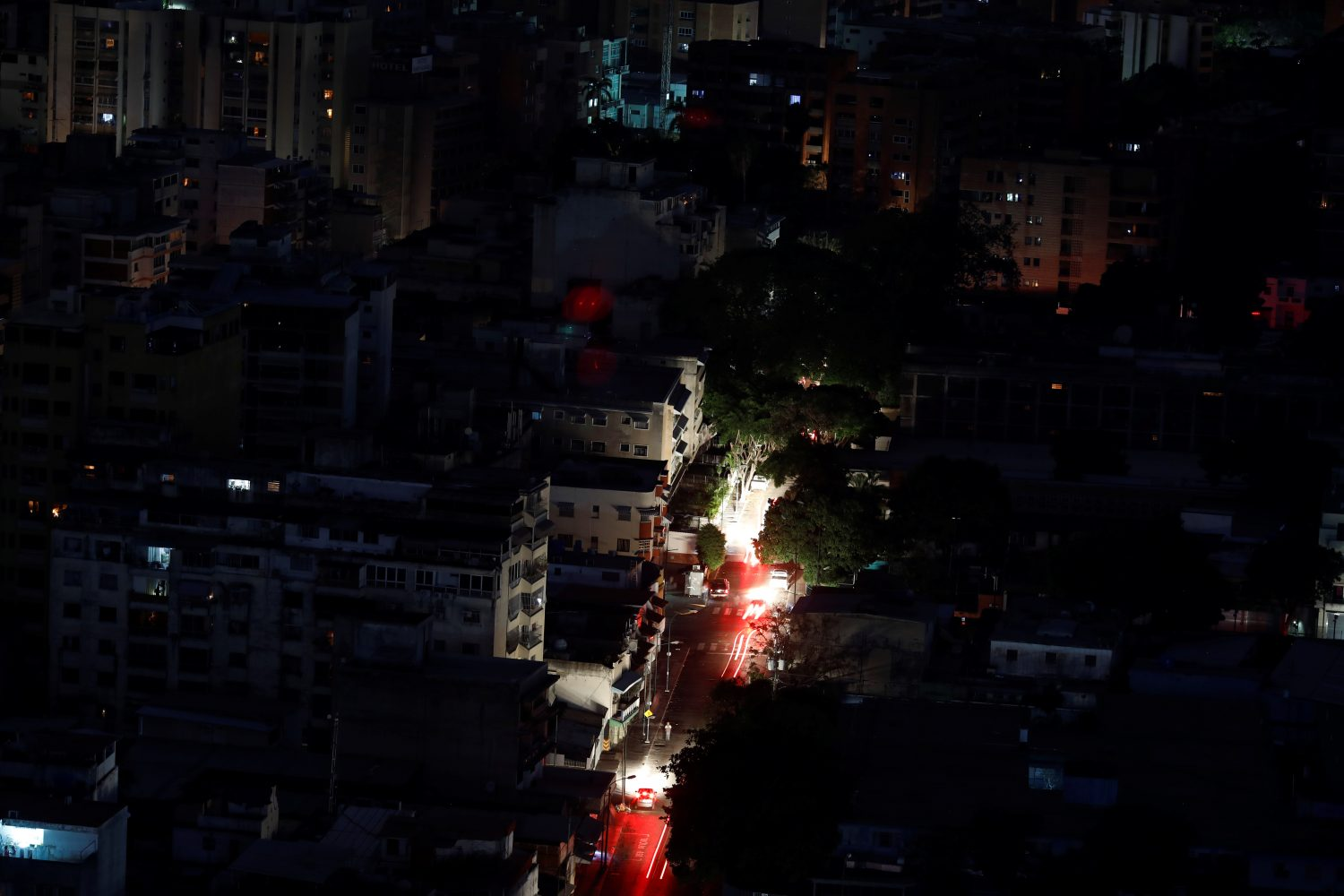 FILE PHOTO: A view of the city during a blackout in Caracas, Venezuela March 27, 2019. REUTERS/Carlos Garcia Rawlins