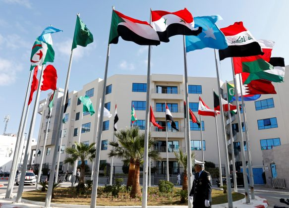 Flags are pictured before a preparatory meeting between Arab foreign ministers ahead of the Arab summit in Tunis, Tunisia March 29, 2019. REUTERS/Zoubeir Souissi