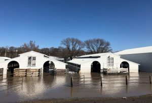 FILE PHOTO: Paddocks at Washington County Fairgrounds are shown underwater due to flooding in Arlington, Nebraska, U.S., March 21, 2019. REUTERS/Humeyra Pamuk -File Photo