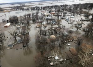 Flood damage is shown in this aerial photo in Percival, Iowa, U.S., March 29, 2019. Photo taken March 29, 2019. REUTERS/Tom Polansek