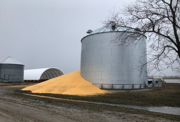 The contents of a grain silo which burst from flood damage is shown in Crescent, Iowa, U.S., March 29, 2019. Photo taken March 29, 2019. REUTERS/Tom Polansek