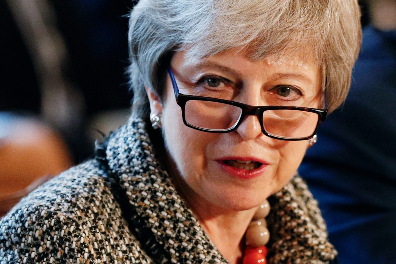 Britain's Prime Minister Theresa May attends a Serious Youth Violence Summit in Downing Street, London, Britain April 1, 2019. Adrian Dennis/Pool via REUTERS